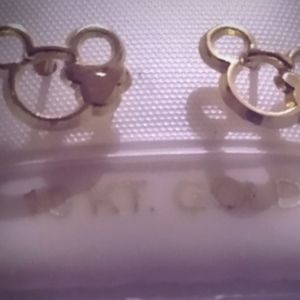Mickey mouse solid gold earrings